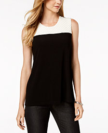 Alfani Petite Pleated Top, Created for Macy's