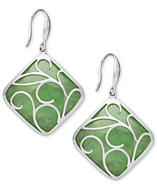 Sterling Silver Earrings, Jade Swirl Overlay Earrings