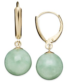 14k Gold Earrings, Jade Bead Drop Earrings