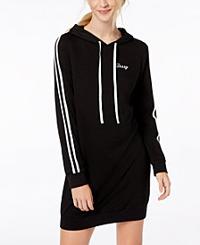 Material Girl Juniors' Varsity-Stripe Hoodie Dress, Created for Macy's