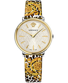 Versace Women's Swiss V-Circle Tribute Edition Baroque SS'92 Animal Print Leather Strap Watch 38mm