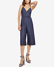 BCBGeneration Surplice Denim Jumpsuit