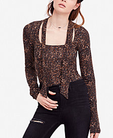 Free People Wild Thing Leopard-Print Top