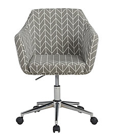 Upholstered Office Chair, Grey Herringbone