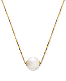 "Honora Style Cultured Freshwater Pearl (8-1/2mm) Solitaire 18"" Pendant Necklace in 14k Gold"