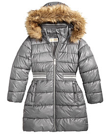 MICHAEL Michael Kors Big Girls Hooded Metallic-Waist Jacket with Faux-Fur Trim