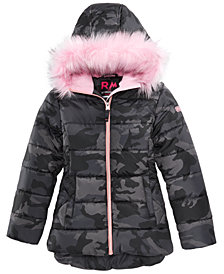RM 1958 Big Girls Ashlyn Camo-Print Hooded Jacket with Faux-Fur Trim