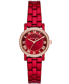 Michael Kors Women's Petite Norie Red Stainless Steel Bracelet Watch 28mm