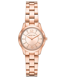 Michael Kors Women's Mini Runway Rose Gold-Tone Stainless Steel Bracelet Watch 28mm