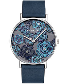 COACH Women's Perry Created for Macy's Cool Gray Leather Strap Watch 36mm