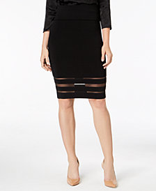 French Connection Mesh-Stripe Skirt