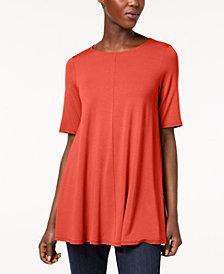Eileen Fisher Stretch Jersey Elbow-Sleeve Top, Regular & Petite