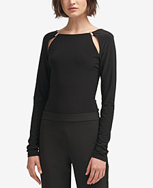 DKNY Long-Sleeve Cutout Bodysuit, Created for Macy's