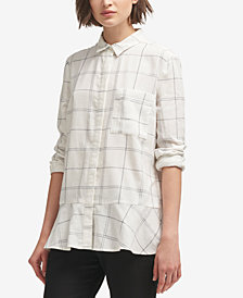 DKNY Plaid Peplum Button-Up Shirt, Created for Macy's