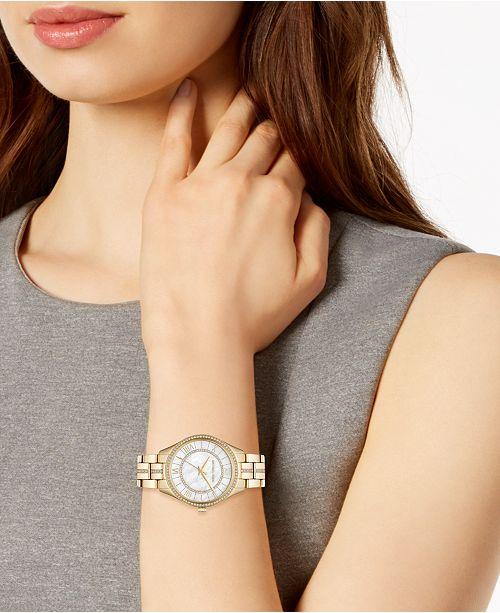 085788c35e8c ... Michael Kors Women s Mini Lauryn Gold-Tone Stainless Steel Bracelet  Watch ...