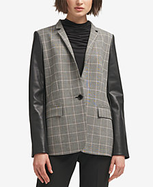 DKNY Faux-Leather-Sleeve Plaid Blazer, Created for Macy's