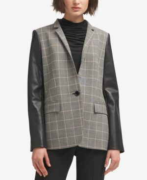 FAUX-LEATHER-SLEEVE PLAID BLAZER, CREATED FOR MACY'S