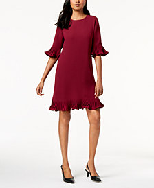 Alfani Pleated Flounce Dress, Created for Macy's
