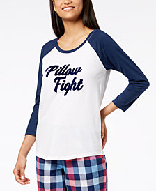 Jenni by Jennifer Moore Raglan-Sleeve Graphic Pajama Top, Created for Macy's
