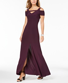 Nightway Cold-Shoulder Keyhole Gown