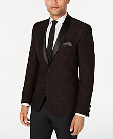 Nick Graham Men's Slim-Fit Burgundy Jacquard Dinner Jacket, Online Only