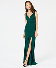 Emerald Sundae Juniors' Sweetheart Side-Slit Gown