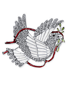 Holiday Lane Silver-Tone Crystal & Epoxy Peace Dove Pin, Created for Macy's