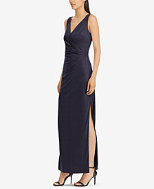 Lauren Ralph Lauren Metallic Surplice Gown