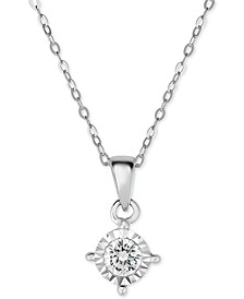 Diamond Solitaire Pendant Necklace (3/8 ct. t.w.) in 14k White Gold