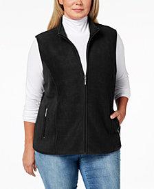 Karen Scott Plus Size Zip-Front Fleece Vest, Created for Macy's