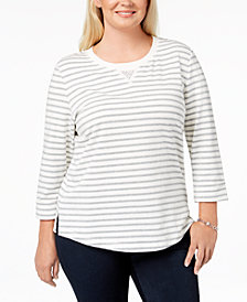 Karen Scott Plus Size French Terry Striped Sweatshirt, Created for Macy's