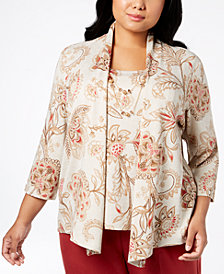 Alfred Dunner Plus Size Layered Necklace Top