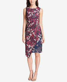 Vince Camuto Floral Print Asymmetrical Sheath Dress