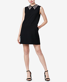 Betsey Johnson Embellished-Collar Shift Dress