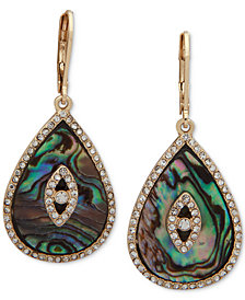 lonna & lilly Gold-Tone Pavé & Stone/Imitation Mother-of-Pearl Drop Earrings