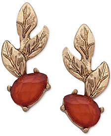 lonna & lilly Gold-Tone Leaf & Stone Climber Earrings