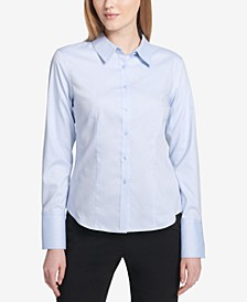 Petite Cotton Button-Front Shirt