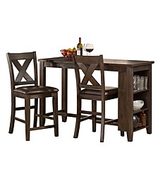 Spencer 3-Piece Counter Height Dining Set with X-Back Stools