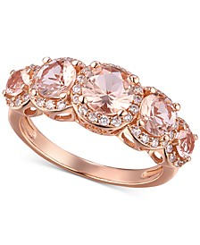 Cubic Zirconia Sterling Silver Morganite Multi-Stone Statement Ring