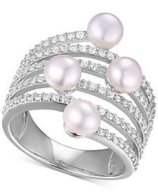 Freshwater Pearl (5mm) & Cubic Zirconia Multi-Row Statement Ring