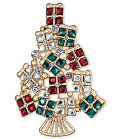 Charter Club Gold-Tone Stone & Crystal Christmas Present Tree Pin, Created for Macy's