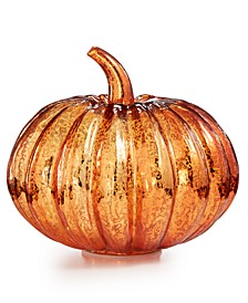 "Harvest 7"" Mercury Glass Pumpkin with LED Lights, Created for Macy's"