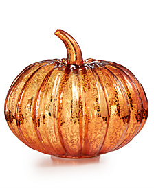 "Martha Stewart Collection Halloween 7"" Mercury Glass Pumpkin with LED Lights, Created for Macy's"