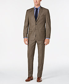 Michael Kors Men's Classic/Regular Fit Natural Stretch Brown Sharkskin Wool Suit