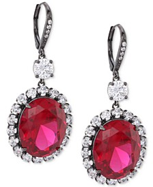 Black-Tone Cubic Zirconia  & Stone Oval Drop Earrings