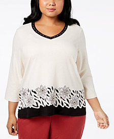 Alfred Dunner Plus Size Embellished V-Neck Top