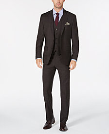 Lauren Ralph Lauren Men's Classic/Regular Fit UltraFlex Brown Check Vested Wool Suit