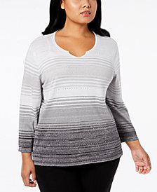 Alfred Dunner Plus Size Ombré Striped Sweater
