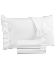 CLOSEOUT! Martha Stewart Collection Signature 4-Pc. White Ruffle California King Sheet Set, 400 Thread Count Cotton Sateen, Created for Macy's