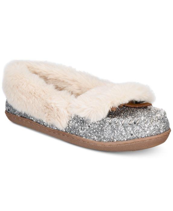 I.N.C. Yasmina Faux-Fur Slippers, Silver, Size: 5M